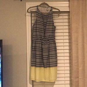 Navy, White, & Yellow Striped Sleeveless Dress